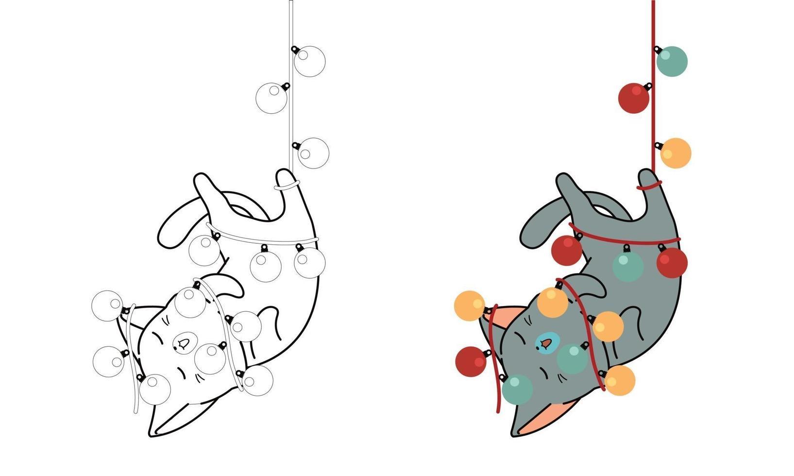 kat hangt aan een elektrische draad, cartoon kleurplaat voor kinderen vector