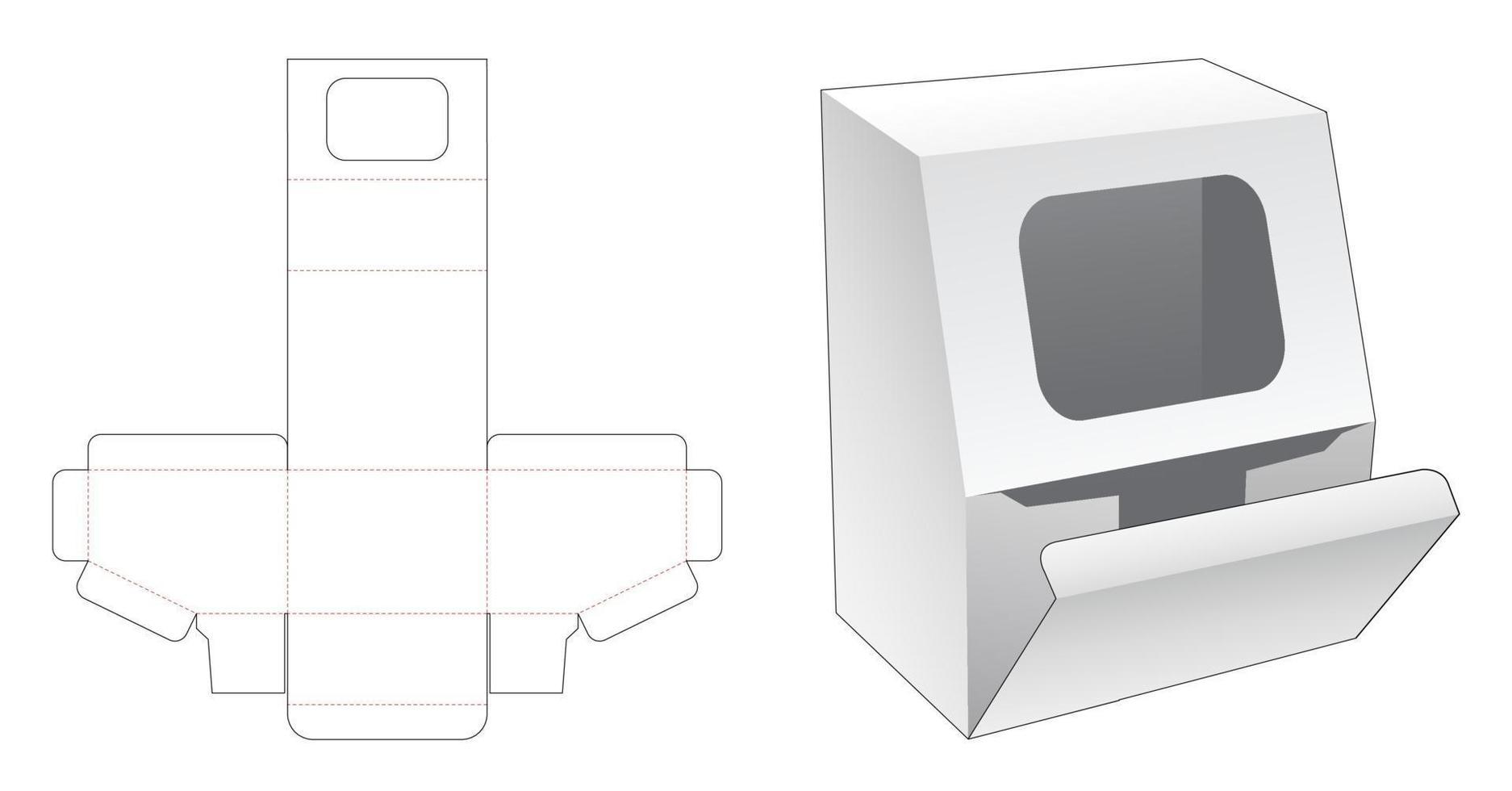 afgeschuinde verpakking met weduwe op afgeschuinde hoek gestanste sjabloon vector