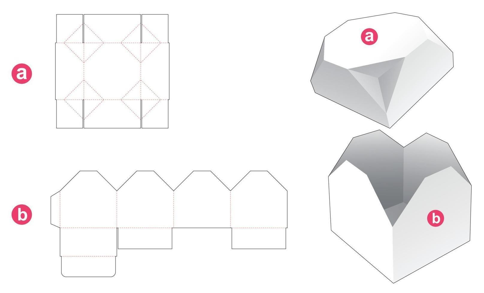 geschenkdoos en afgeschuind achthoekig deksel gestanst sjabloon vector