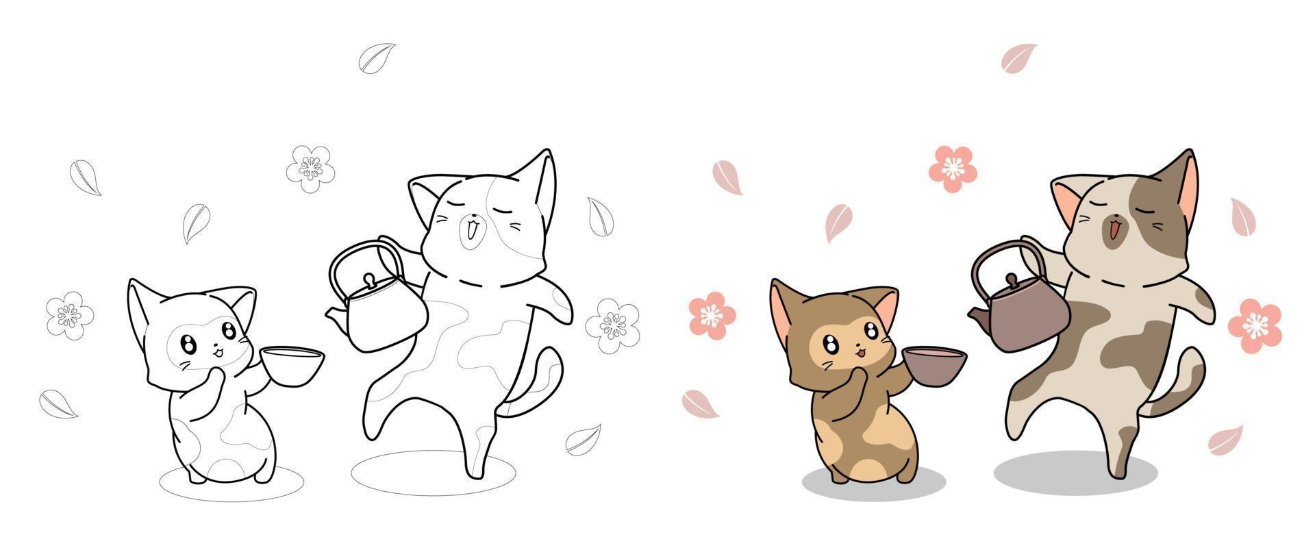 schattige katten drinken thee, kleurplaat voor kinderen vector