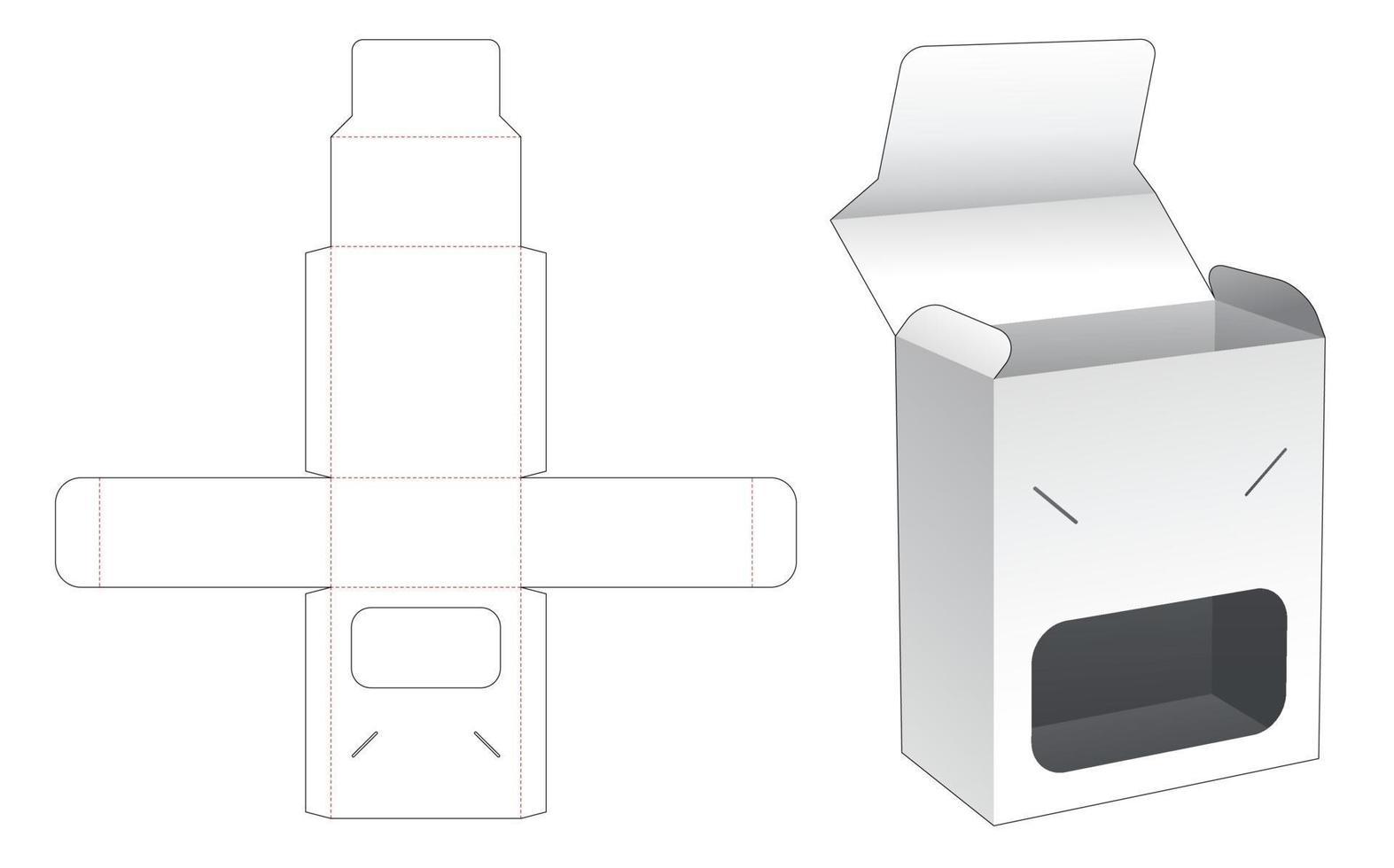 flip box en vergrendeld punt met venster gestanst sjabloon vector