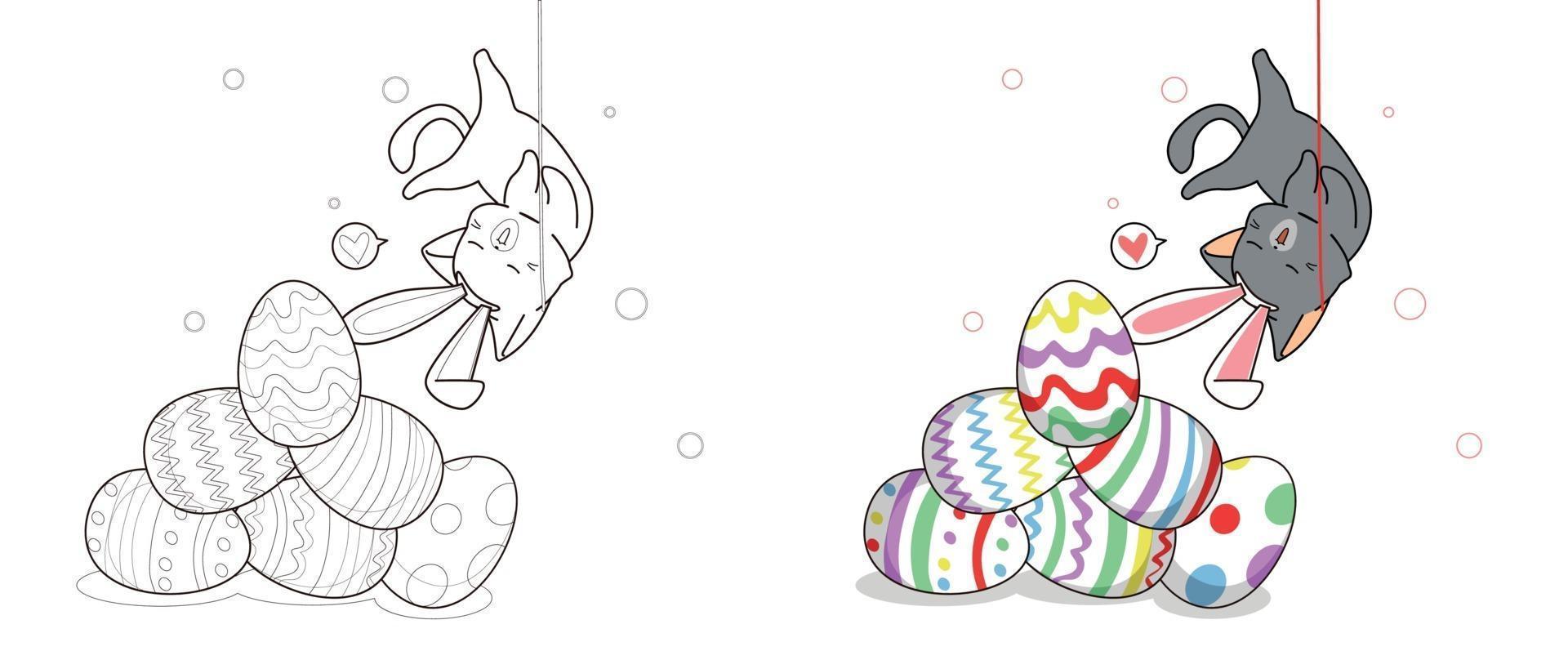 konijntjeskat valt op eieren, kleurplaat voor kinderen vector