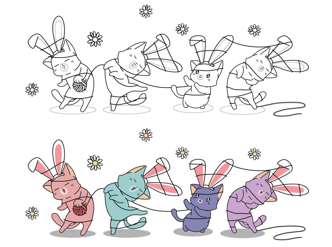 konijntjeskatten verstrikt in een touwtje, kleurplaat voor kinderen vector