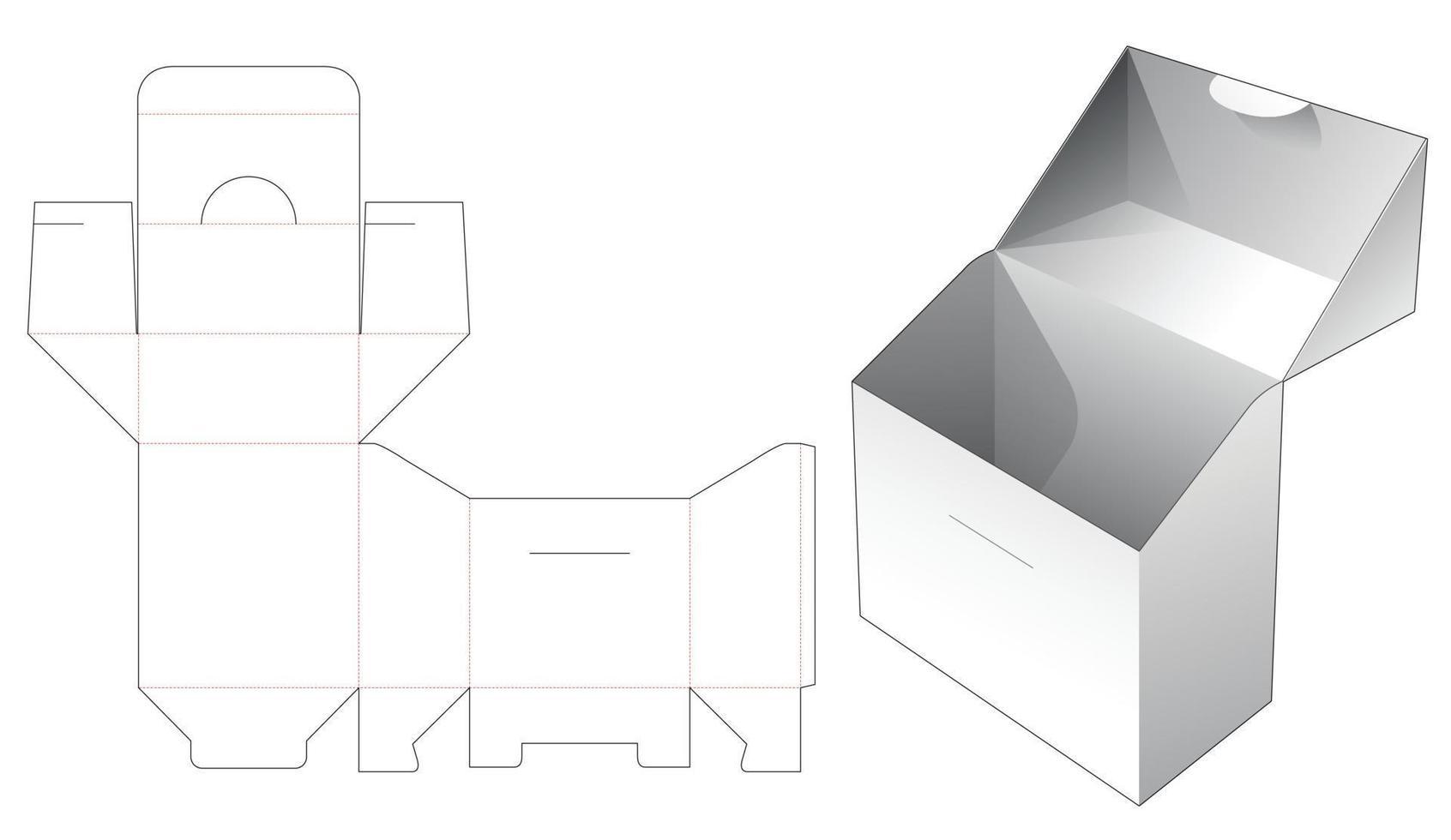 flip-box en gestanste sjabloon met vergrendelde punt vector