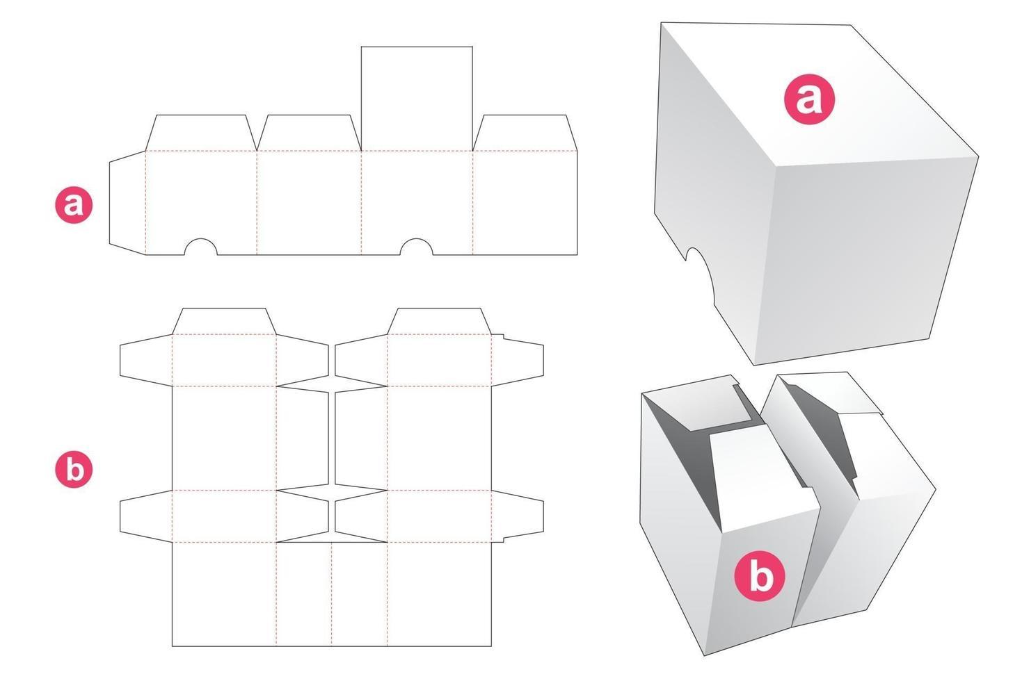 dubbele doos en deksel gestanst sjabloon vector