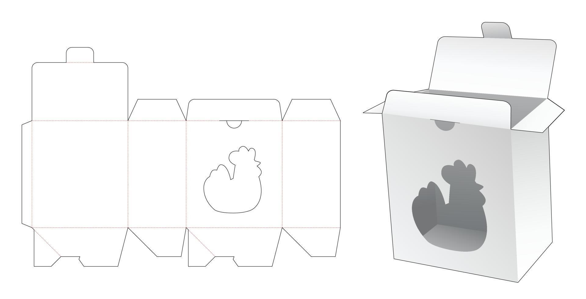 Locked point box hen-vormig raam gestanst sjabloon vector
