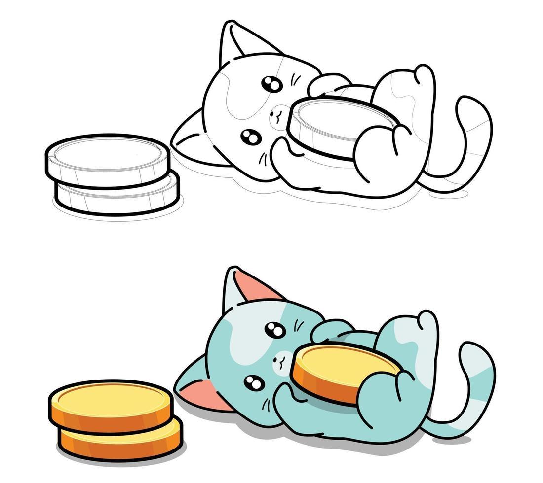 schattige kat houdt van munten kleurplaat voor kinderen vector