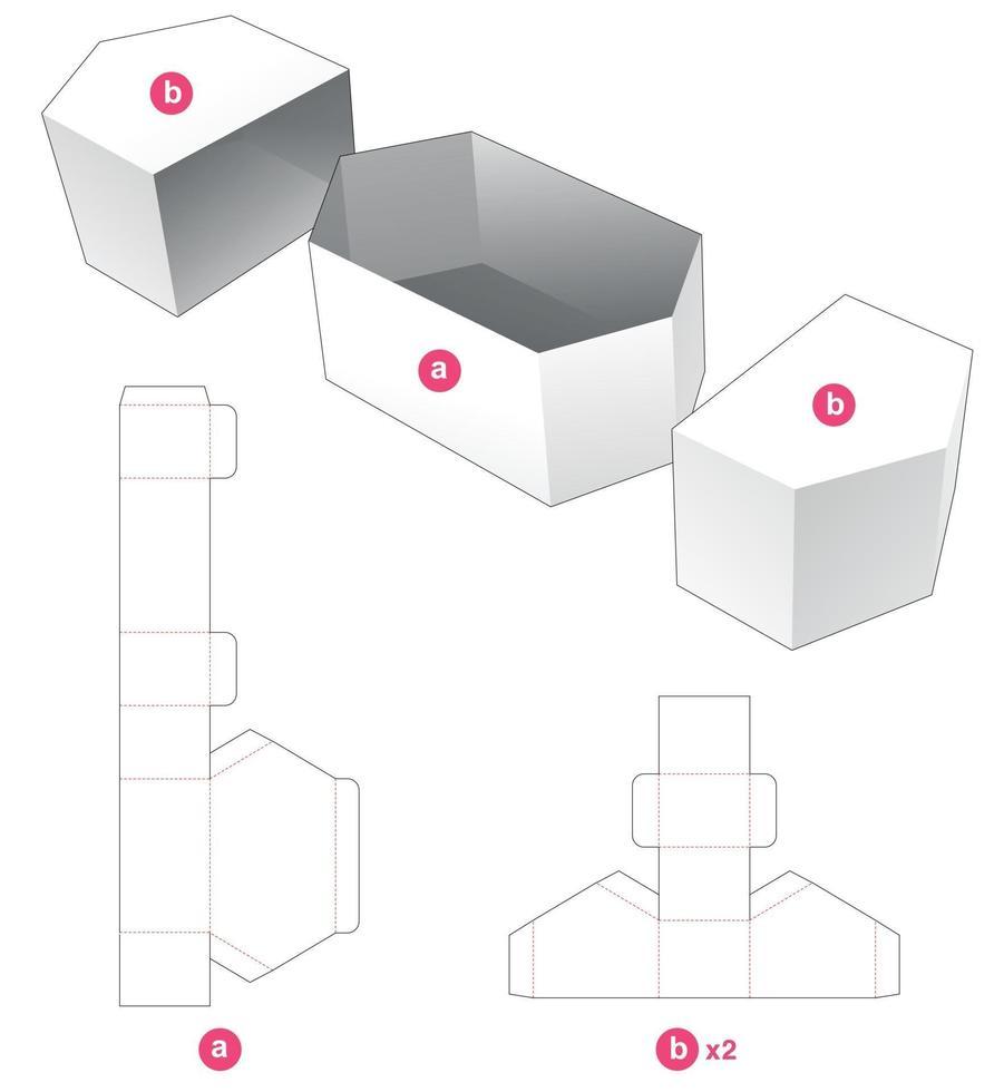zeshoekige kom met 2 deksels gestanst sjabloon vector