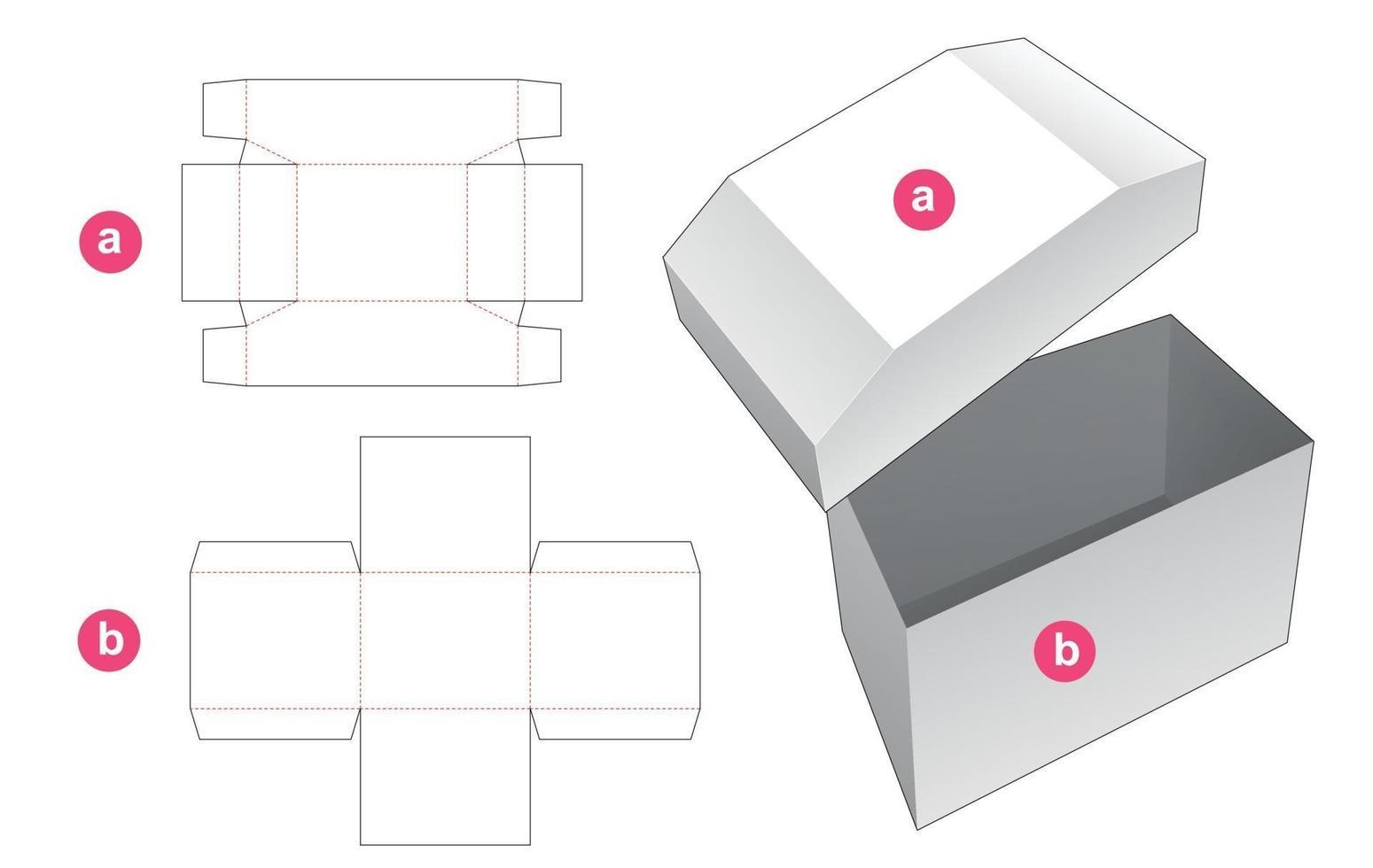 kistvormige doos en deksel gestanst sjabloon vector