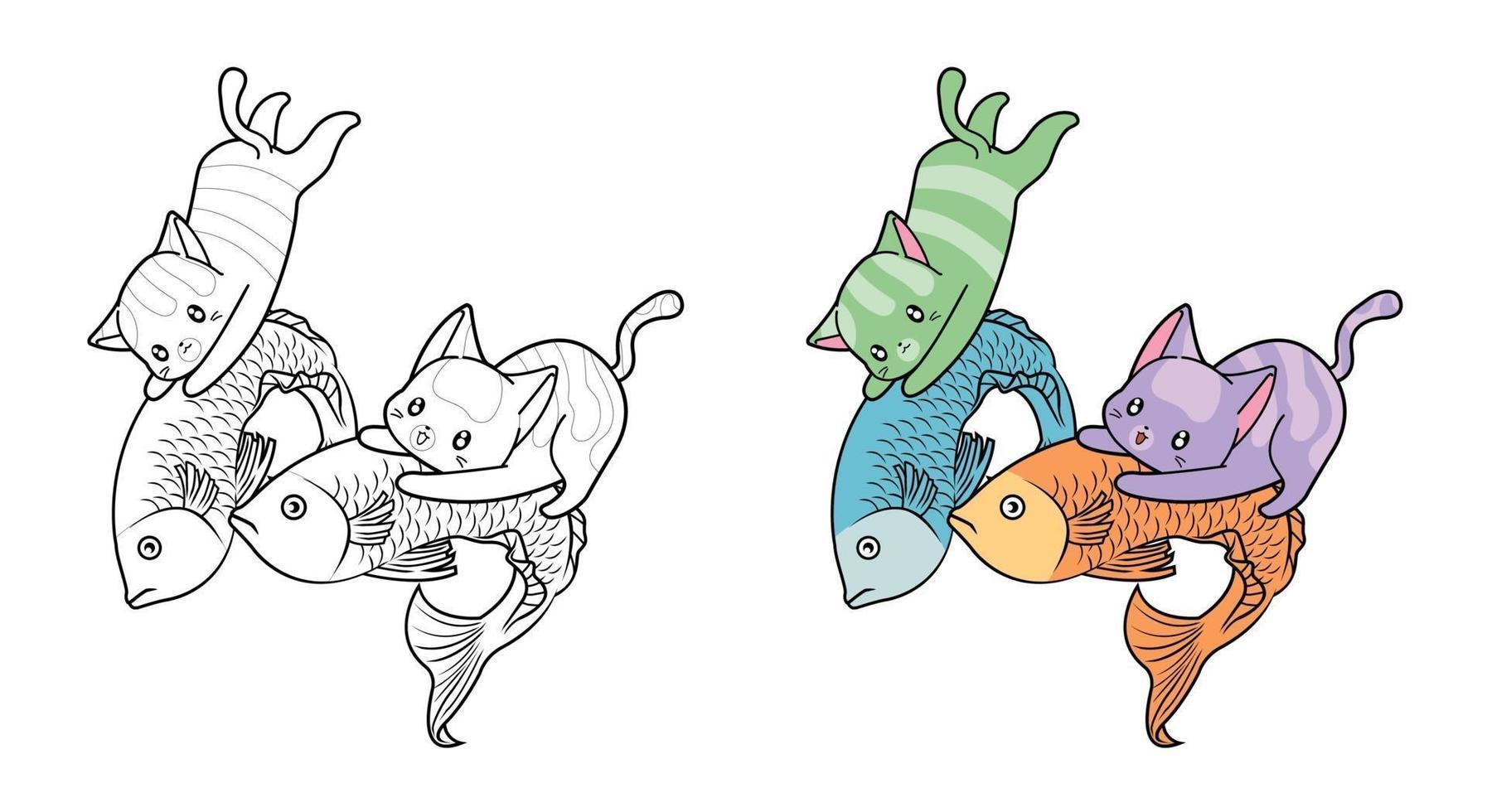 schattige katten vangen vis, cartoon kleurplaat voor kinderen vector