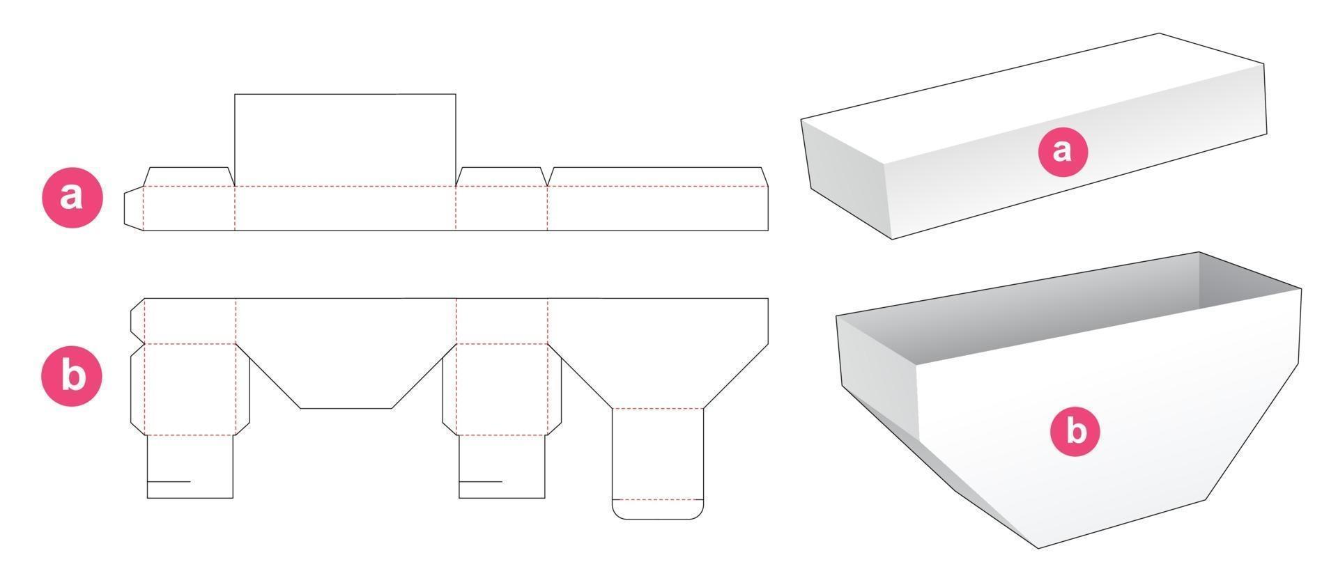 onderzijde afgeschuinde doos met deksel gestanst sjabloon vector