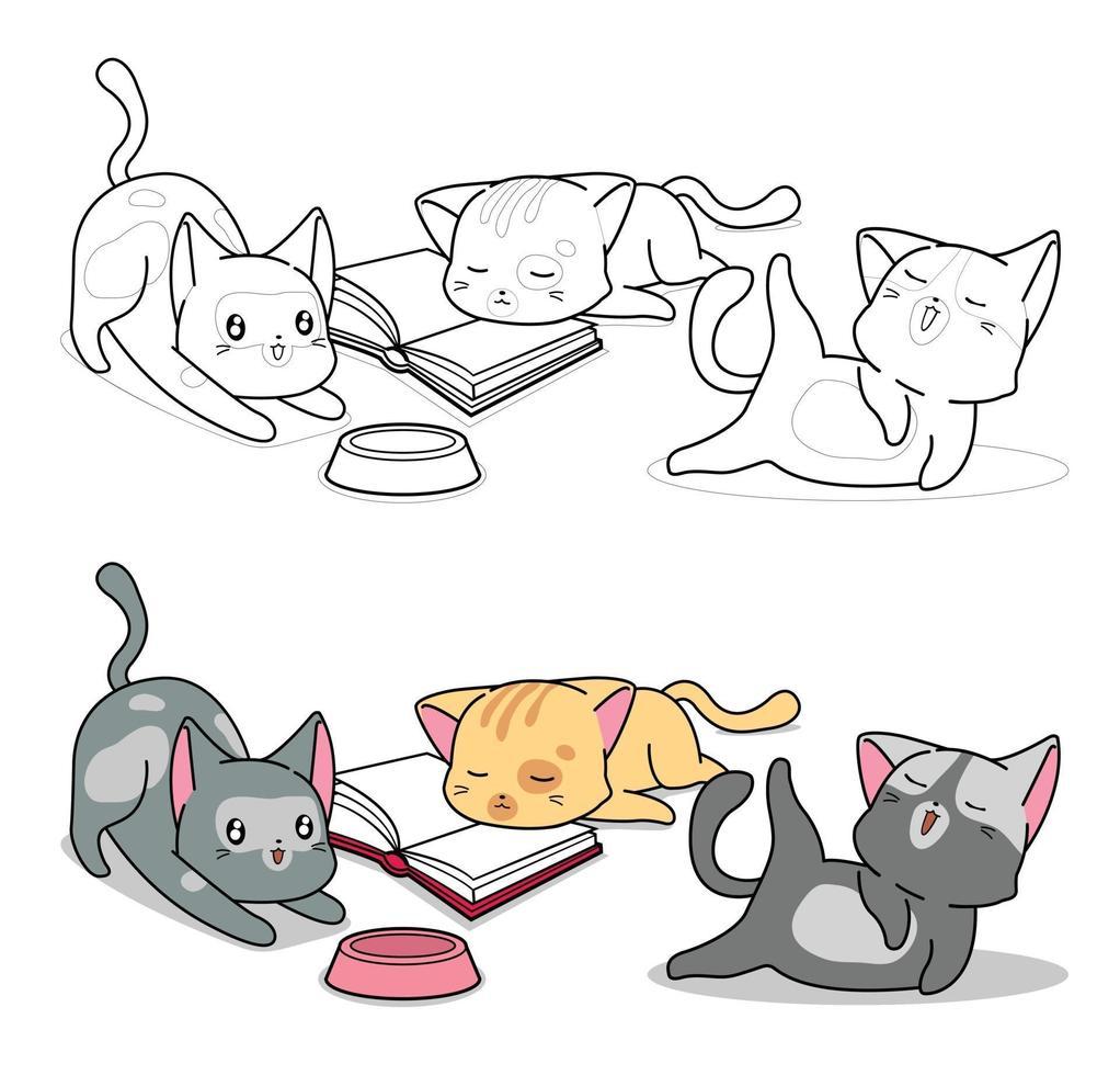 drie kat tekens cartoon kleurplaat voor kinderen vector