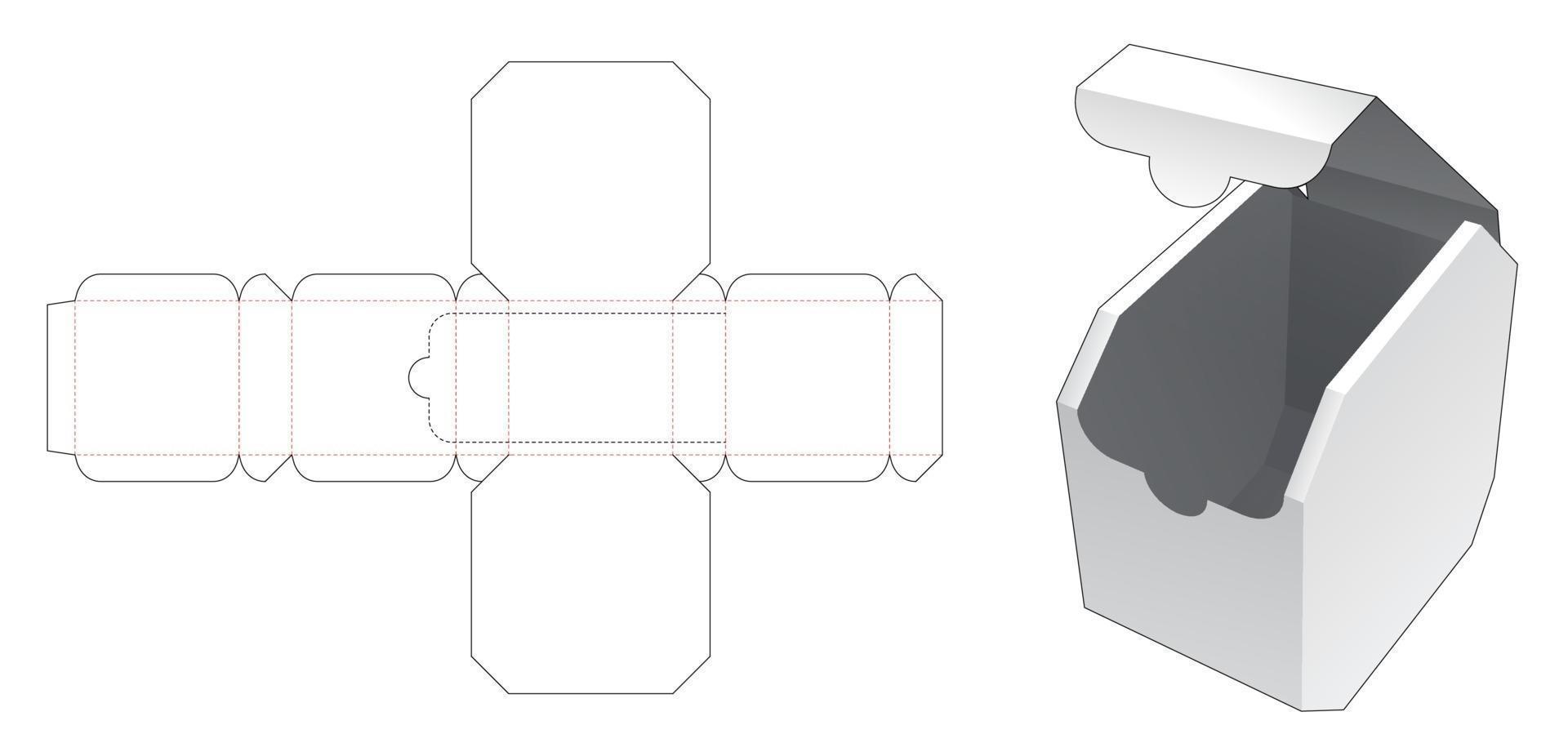 Achthoekige doos gestanst sjabloon met ritssluiting vector