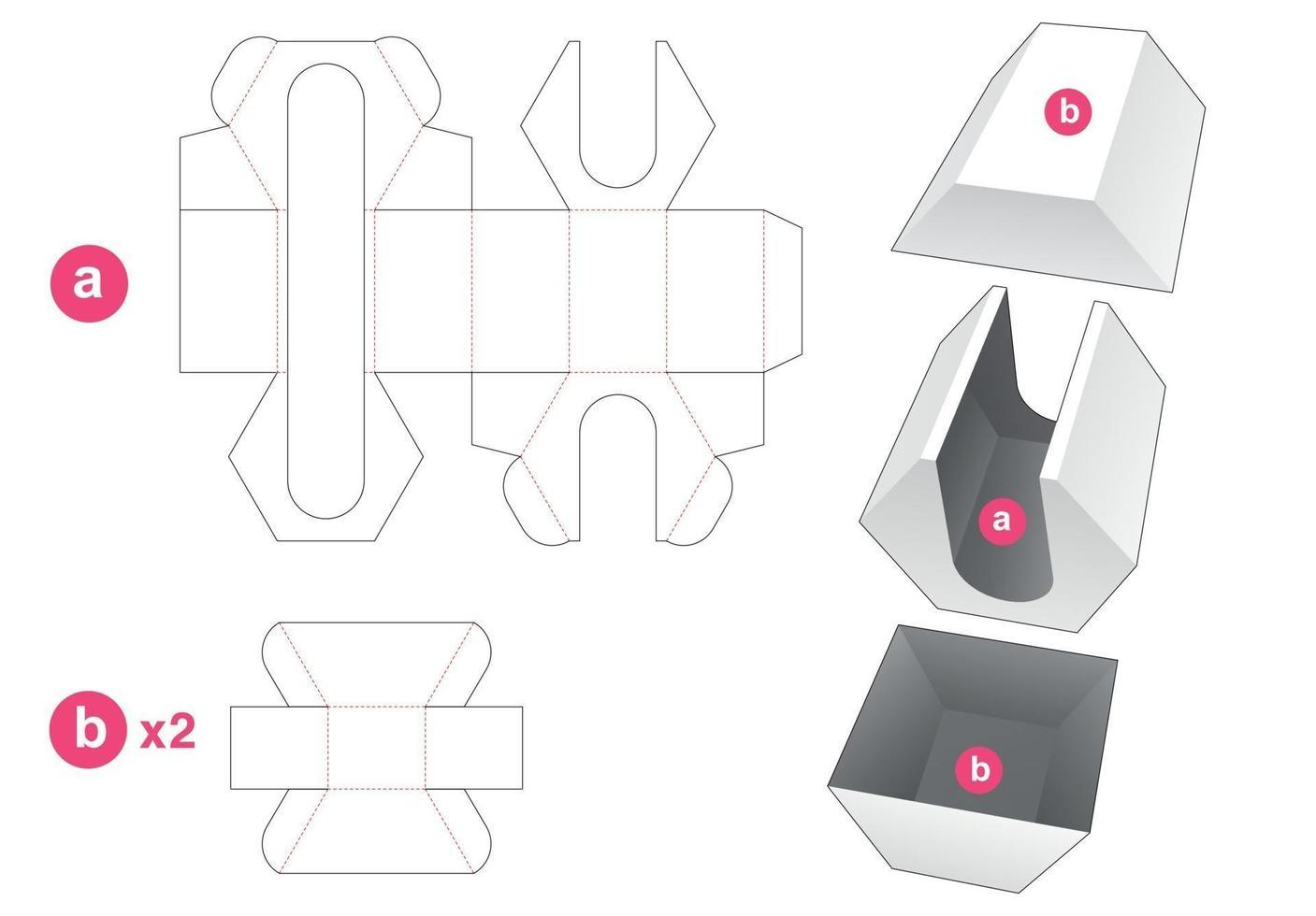 zeshoekige insteekdoos met 2 deksels gestanst sjabloon vector