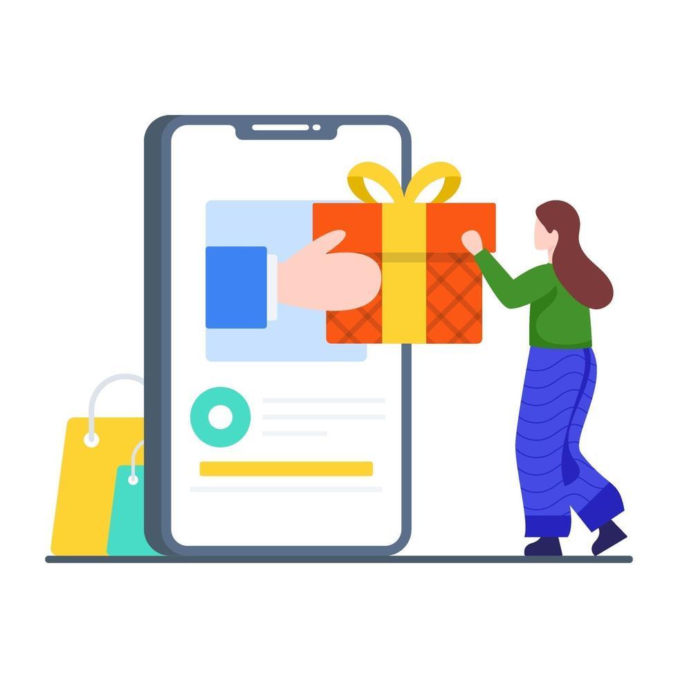 online cadeau levering concept vector