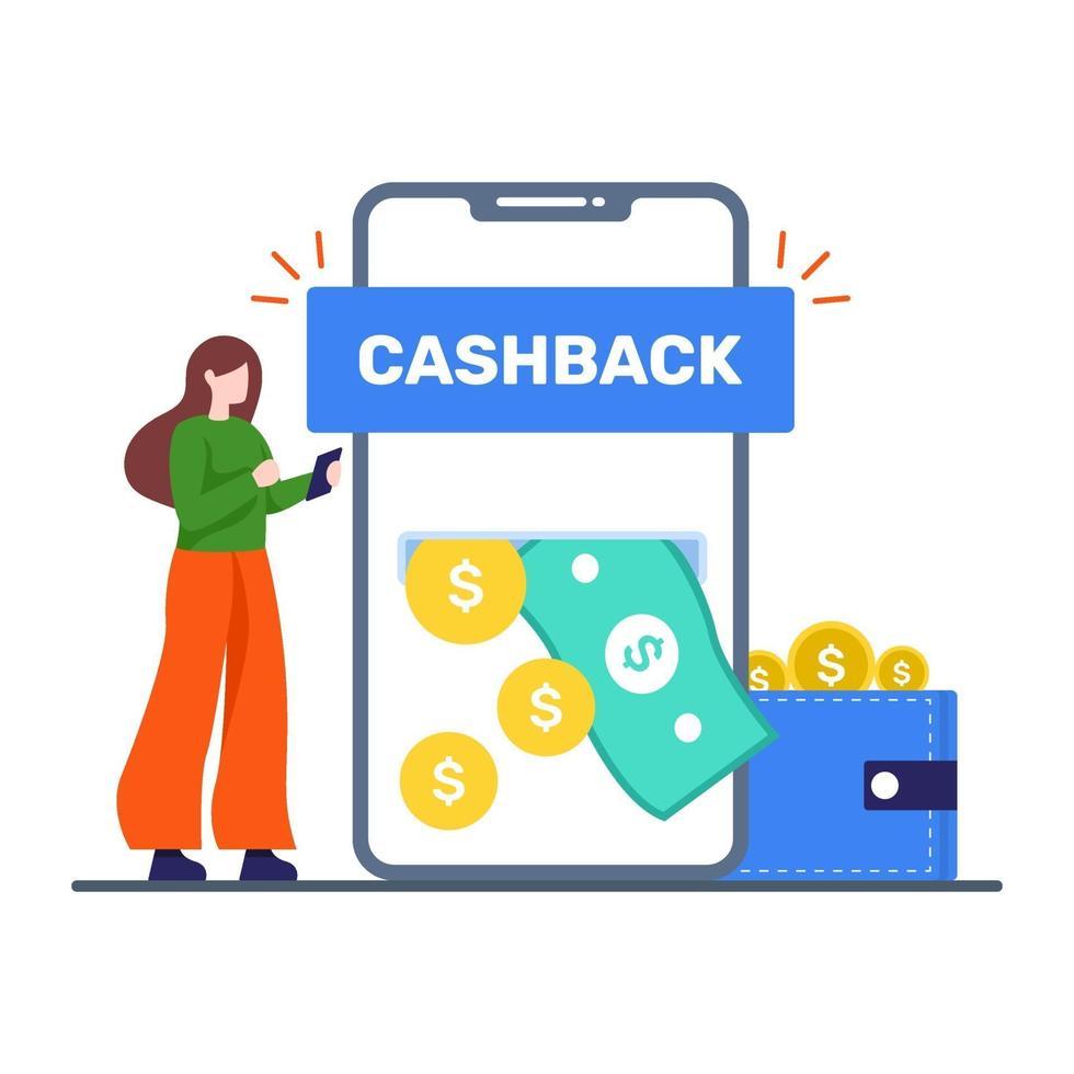 geld terug app serviceconcept vector