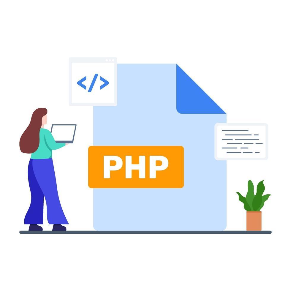 php bestandsextensie concept vector