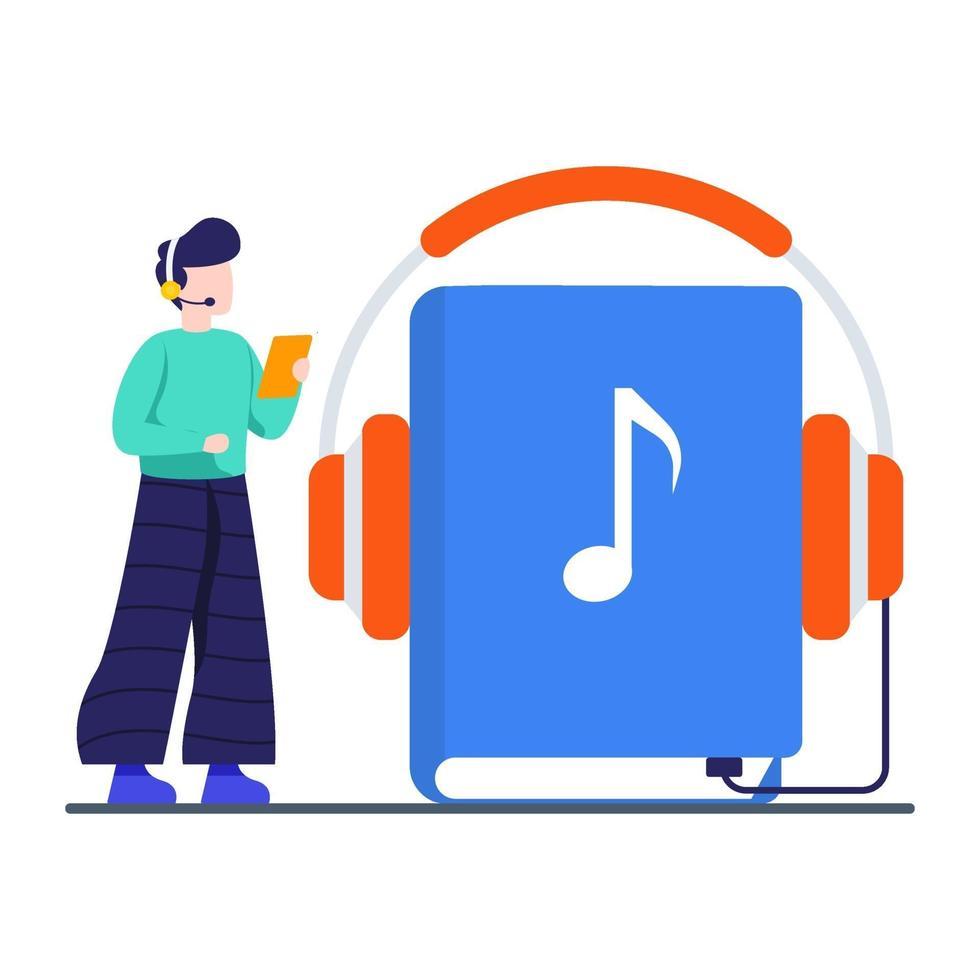 luister naar het audioboek-concept vector