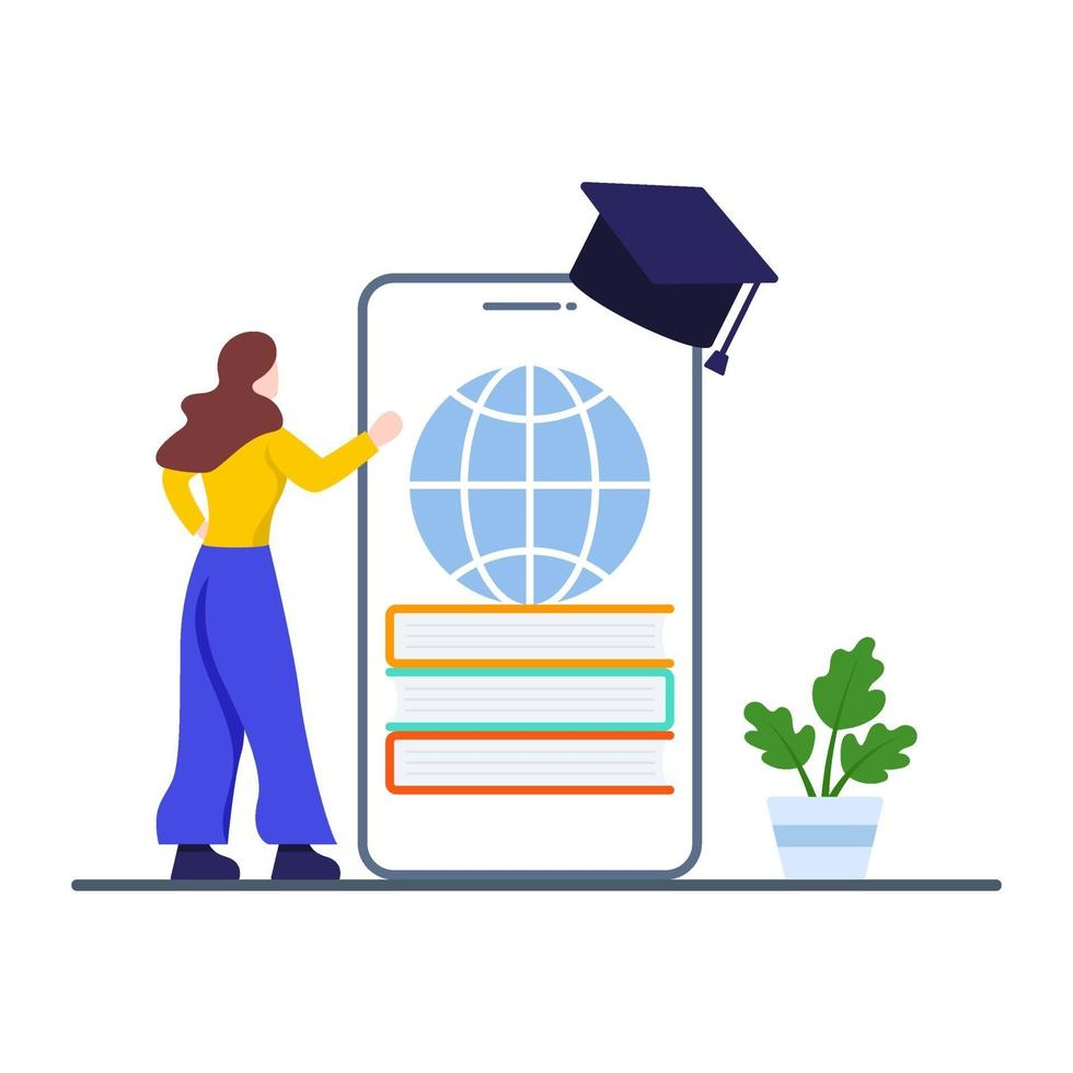 e-learning of educatief app-concept vector