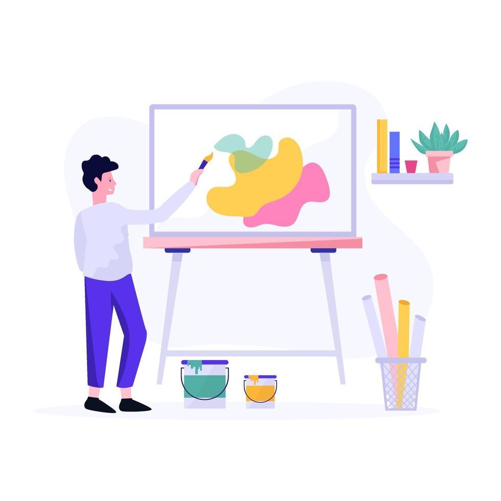 mannelijke kunstenaar schilderij concept vector