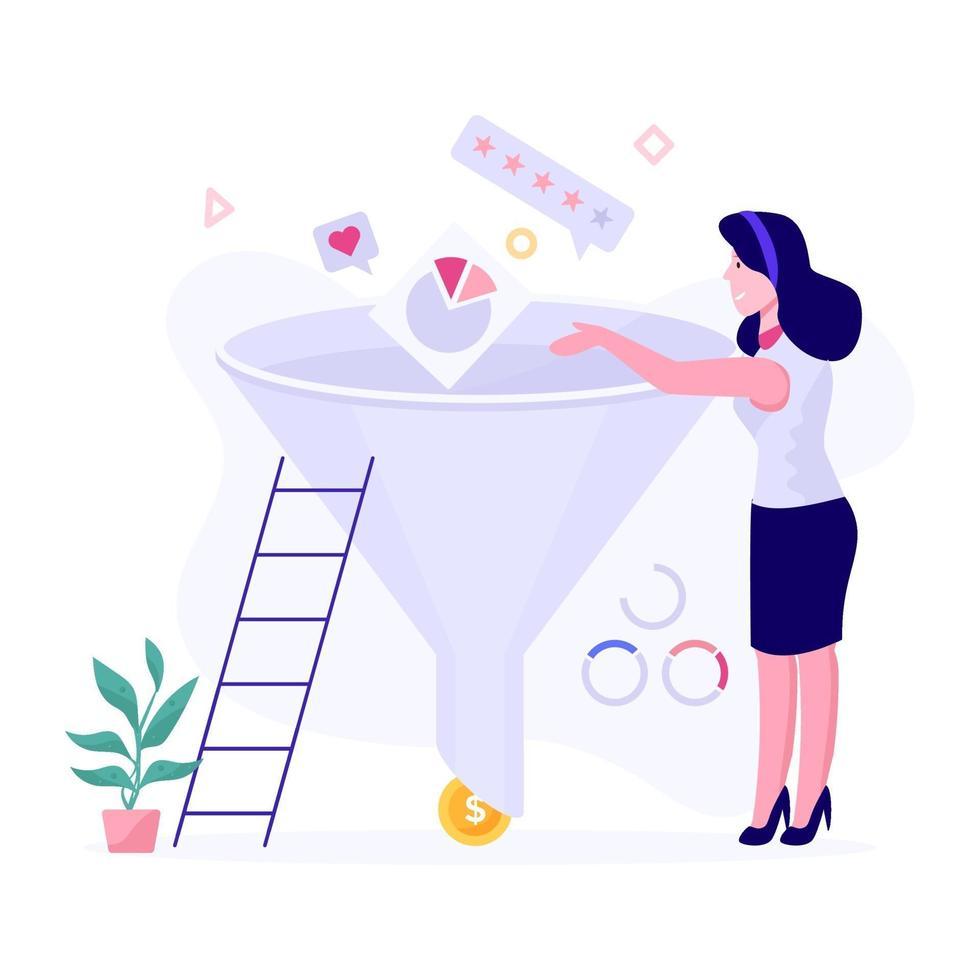 zakenvrouw en verkooptrechter concept vector