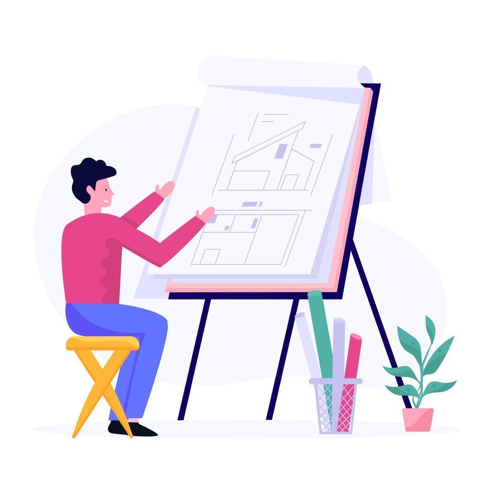 bouw of huisplan concept vector