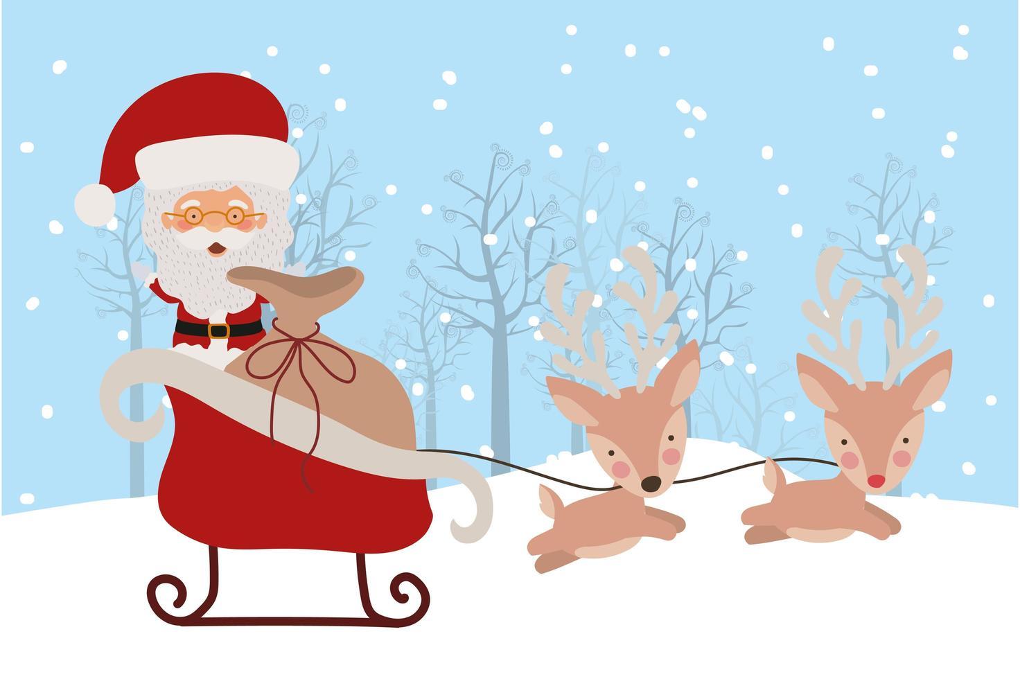 vrolijke kerstkaart met de kerstman vector