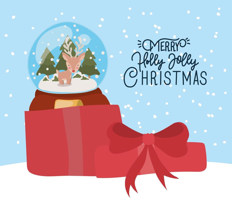 vrolijke kerstkaart met kristallen bol vector