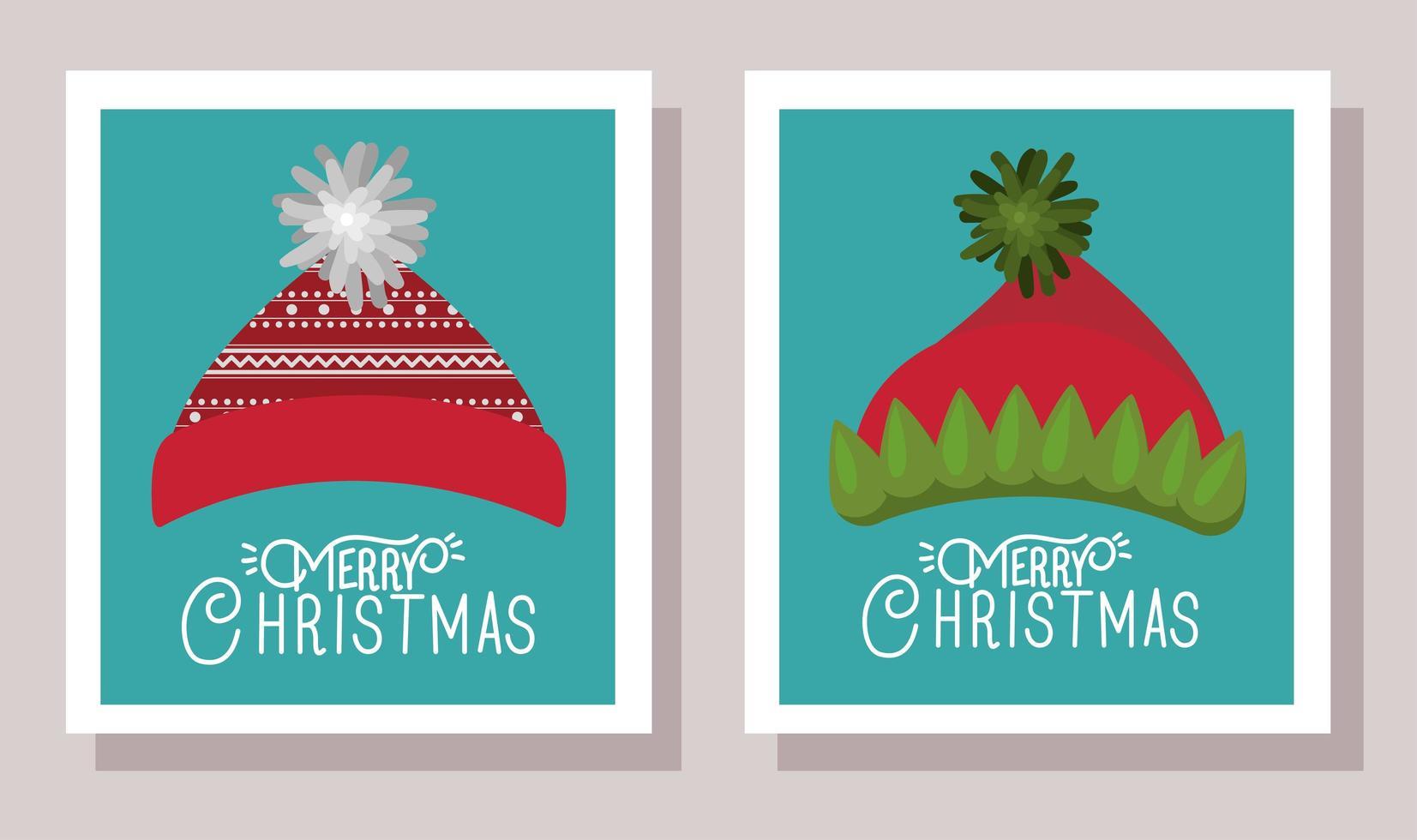 vrolijke kerstkaart met hoeden vector