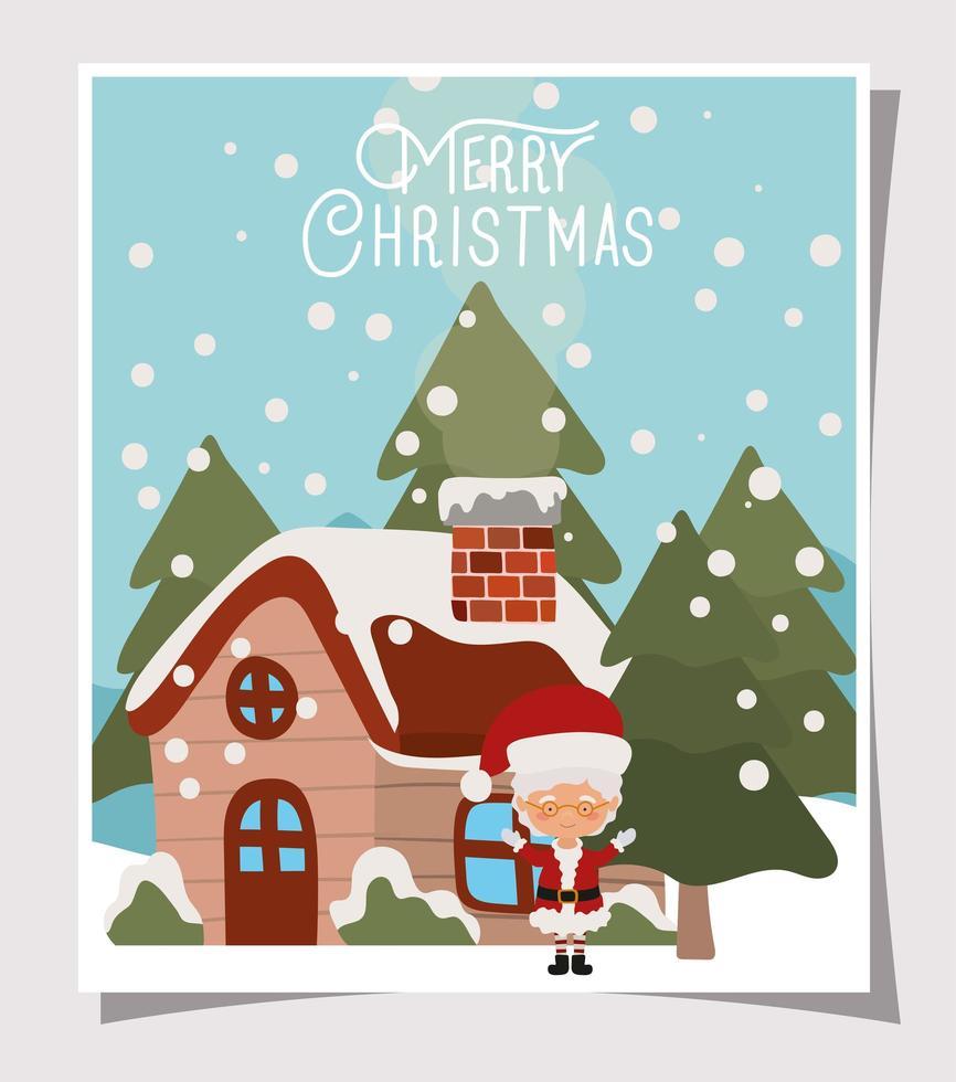 vrolijke kerstkaart met mevr. claus vector
