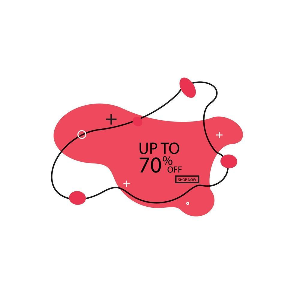 verkoop vloeiende vorm bannerontwerp. 70 uit. speciale aanbieding achtergrond. vector korting banner