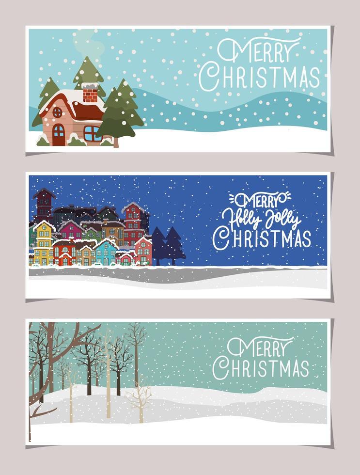 vrolijke kerst banner set vector