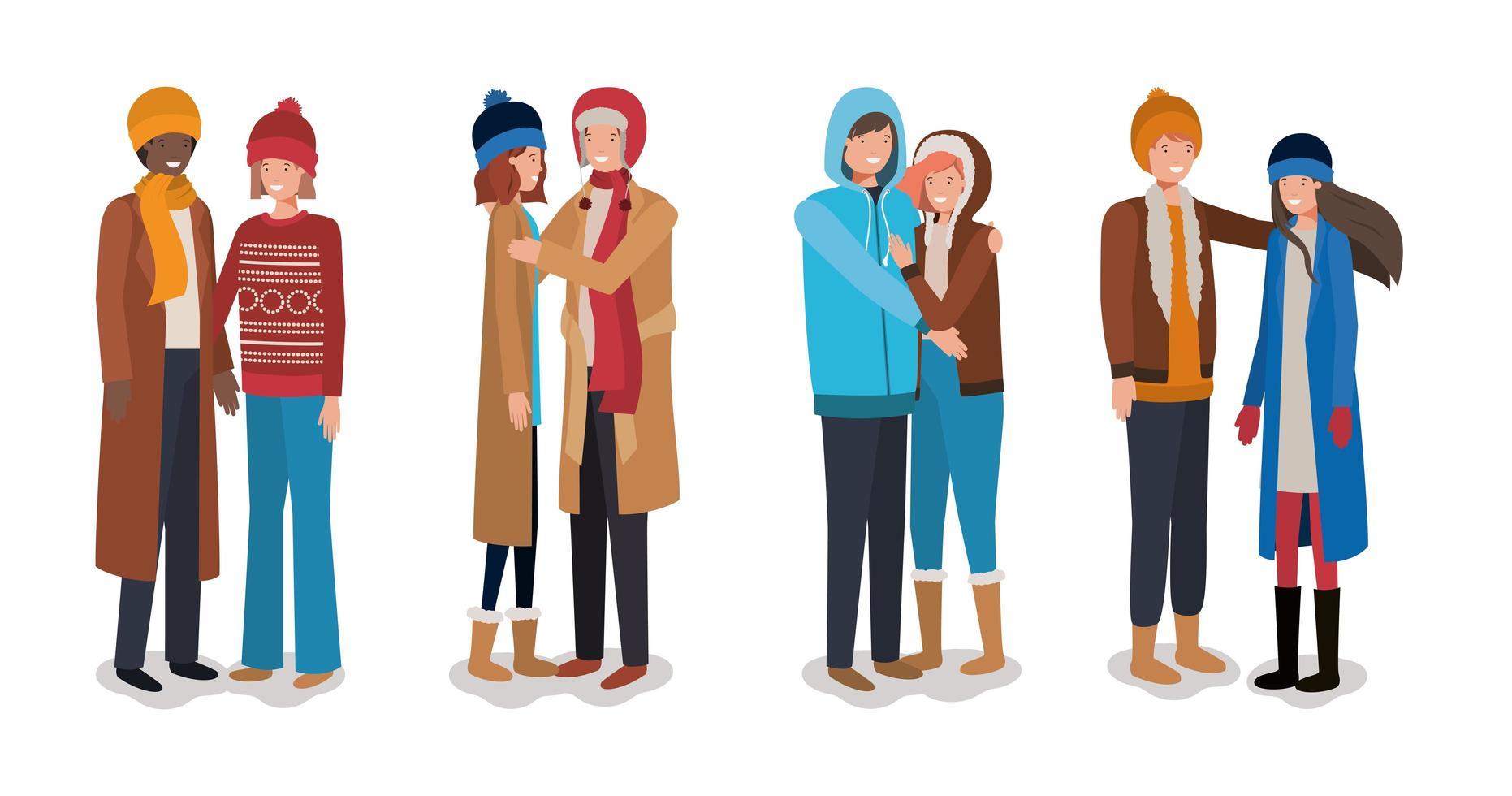 jonge stellen met karakters van winterkleren vector