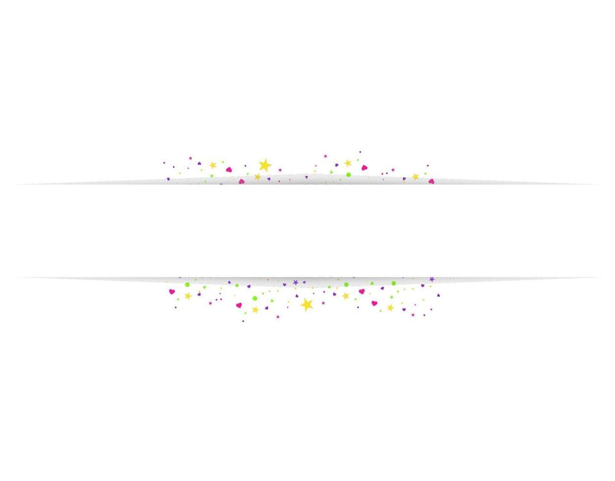 lege banner met kleur confetti geïsoleerd op een witte achtergrond. vector feestelijke achtergrond. gelukkige verjaardag concept
