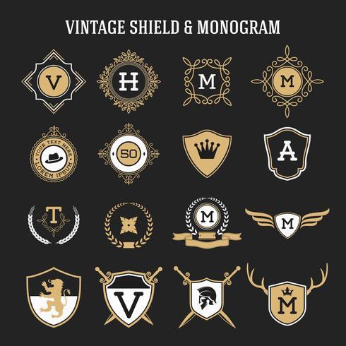 set vintage monogram en schild elementen vector