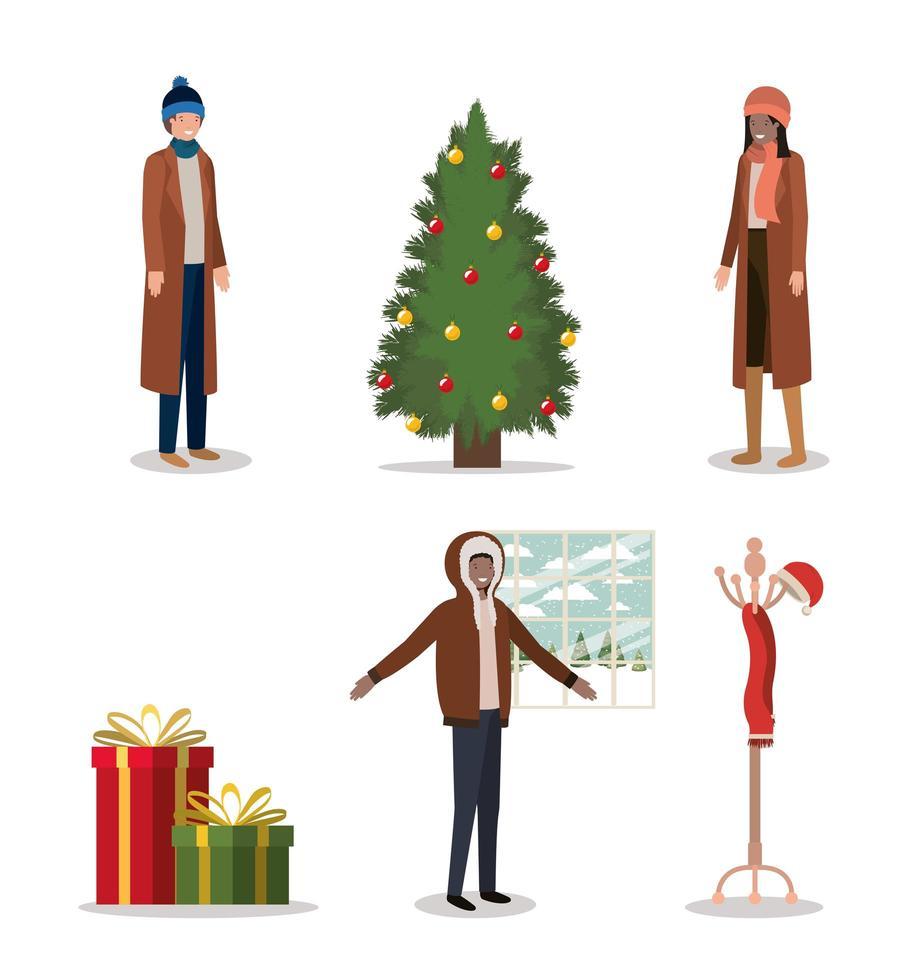 kerst thuis set vector