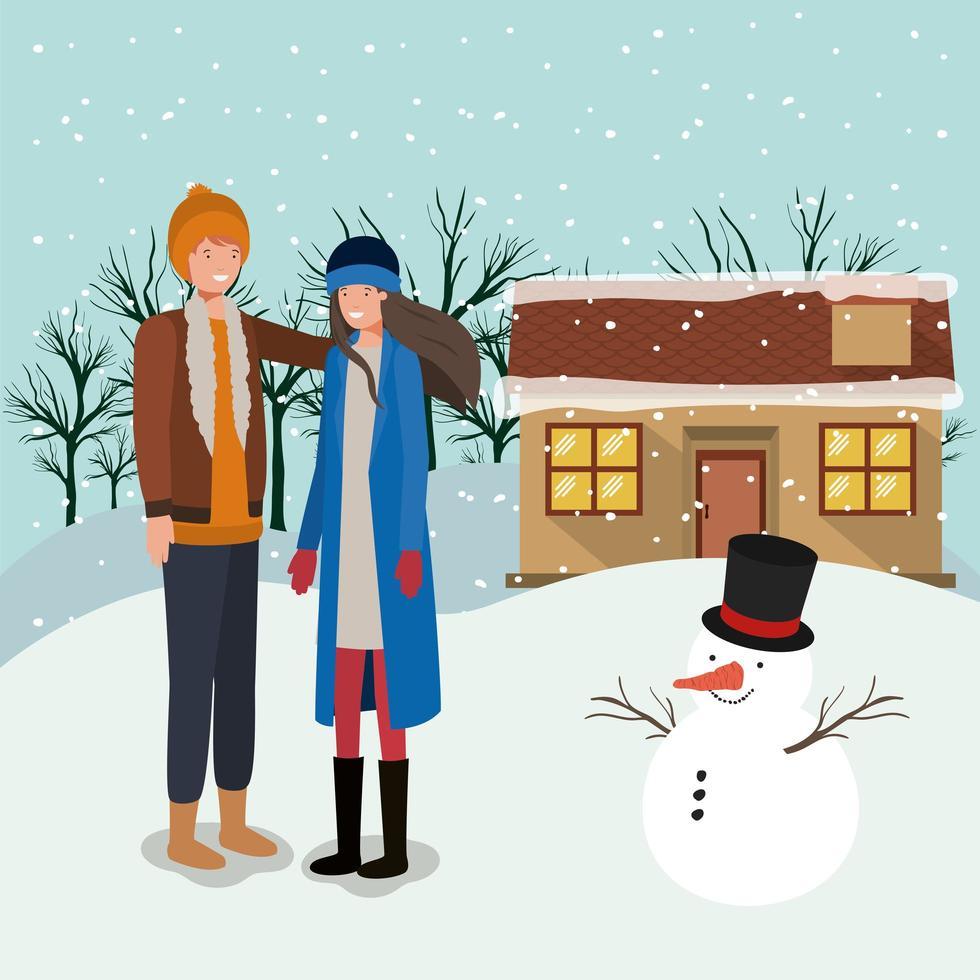 paar kerst vieren met sneeuwpop vector