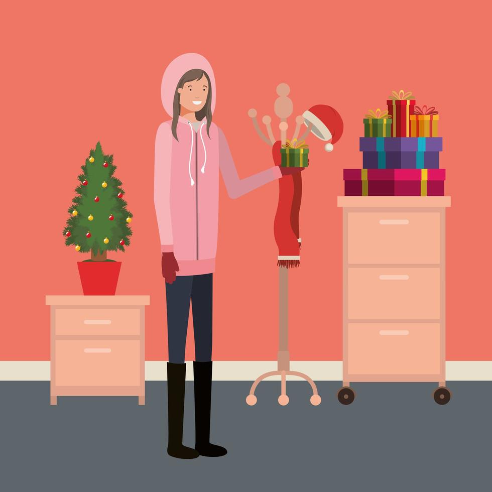 Youn meisje met kerstboom vector
