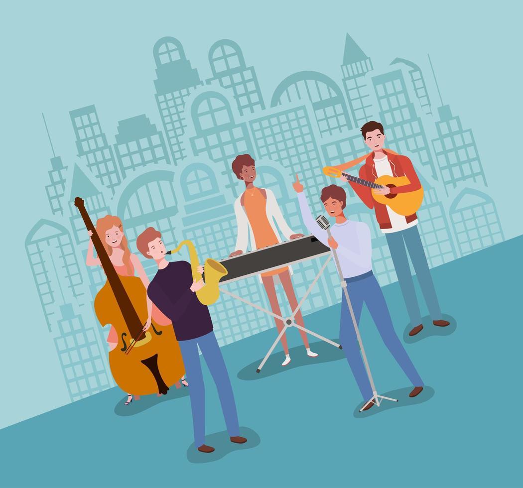 groep interraciale mensen die muziek in een band spelen vector
