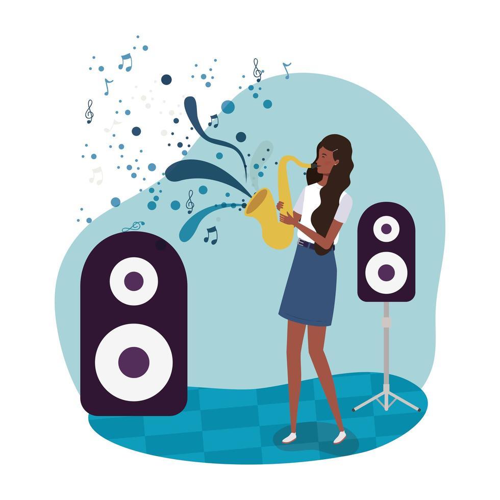 afro vrouw saxofoon karakter spelen vector