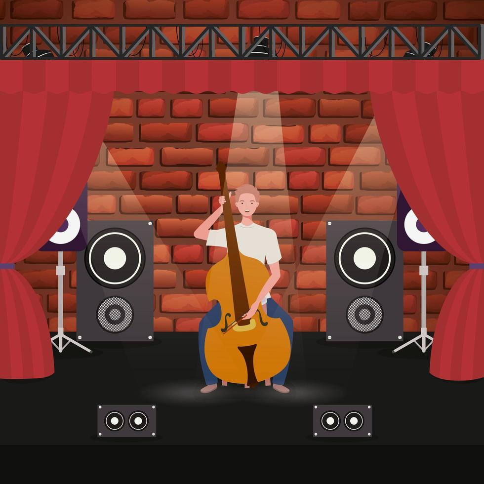 man spelen cello instrument karakter vector