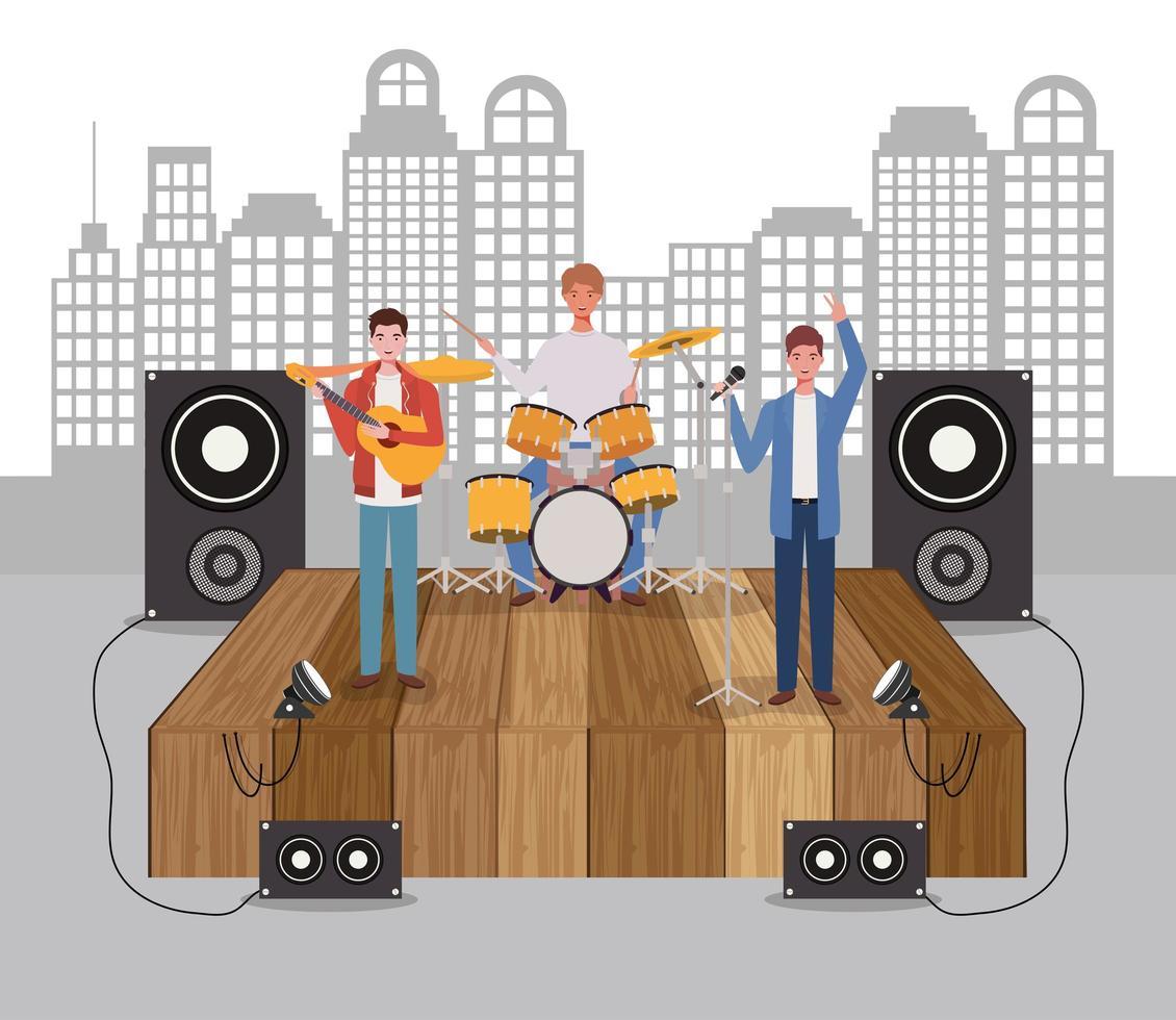 groep mannen spelen muziek in een band vector