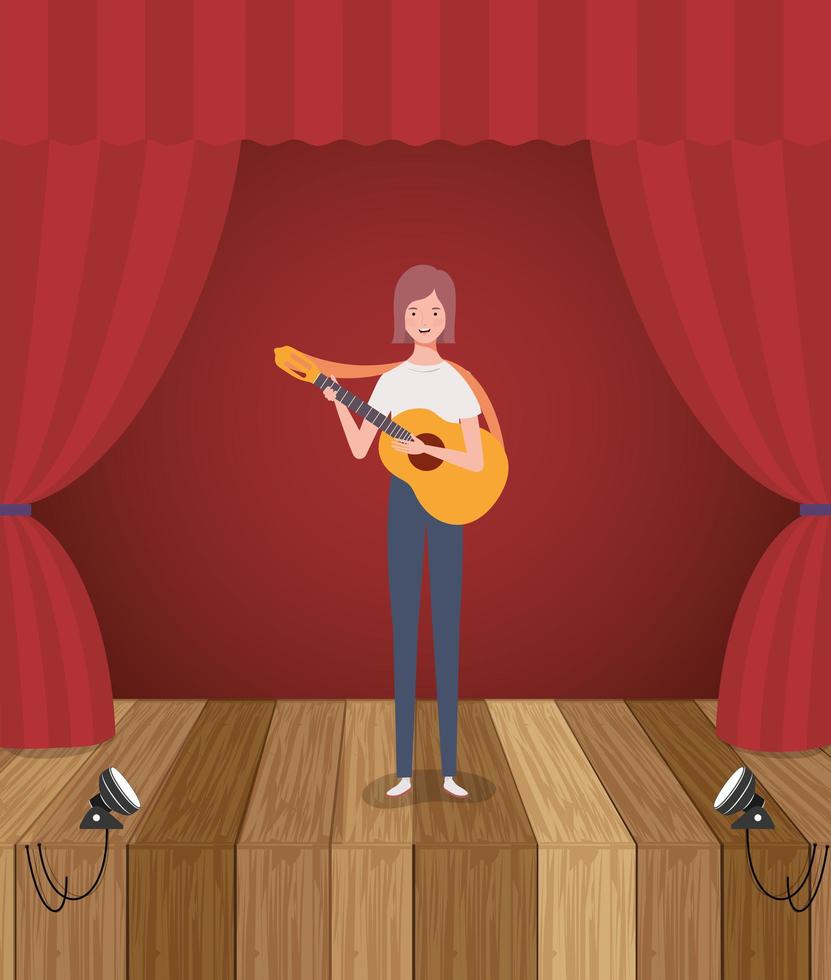 vrouw speelt akoestische gitaar karakter vector