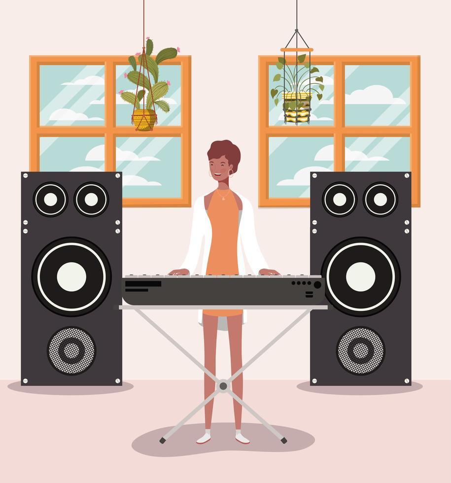 vrouw spelen piano avatar karakter vector