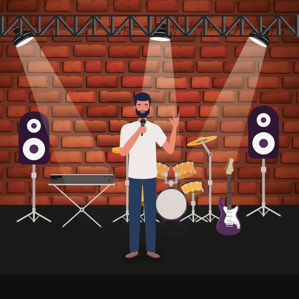 man zingen met microfoon op een concertpodium vector