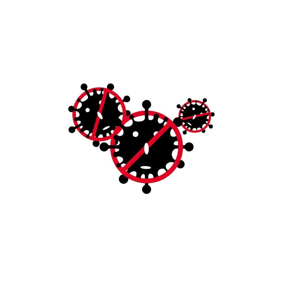 coronavirus pictogram illustratie. platte omtrek iconen van een virus en een stopbord doorgestreept. vector