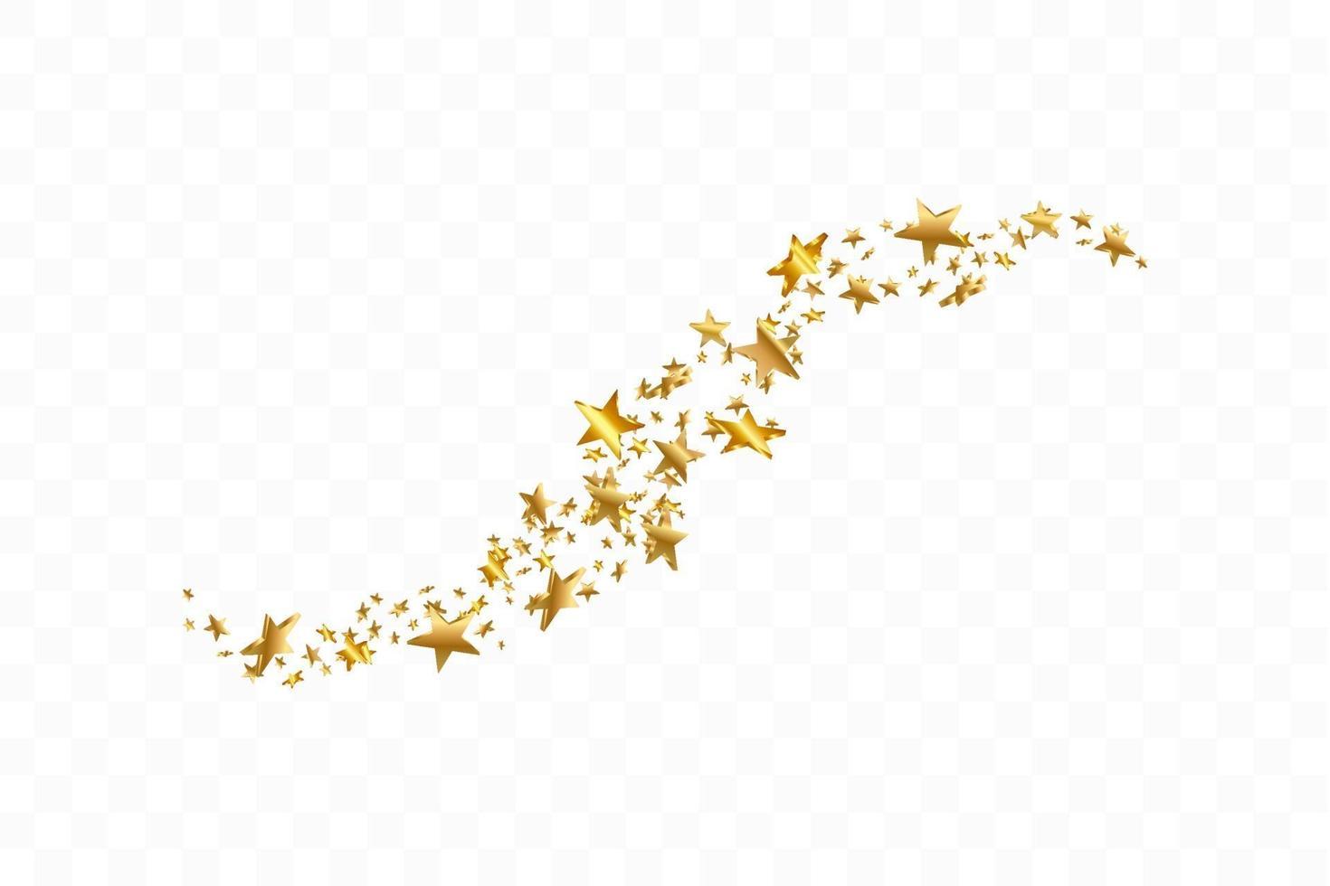goudgeel 3d ster vallen. vector confetti ster achtergrond. gouden sterrenkaart. confetti vallen chaotisch decor.
