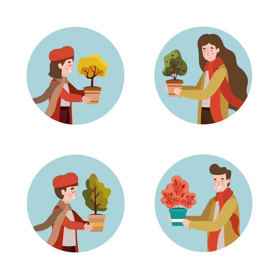 familieleden met herfstkleren en plant vector