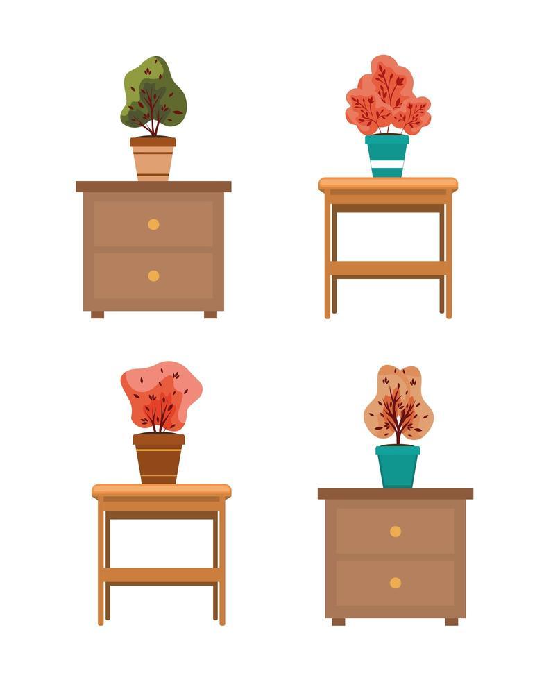 herfstplanten in keramische potten op houten laden vector