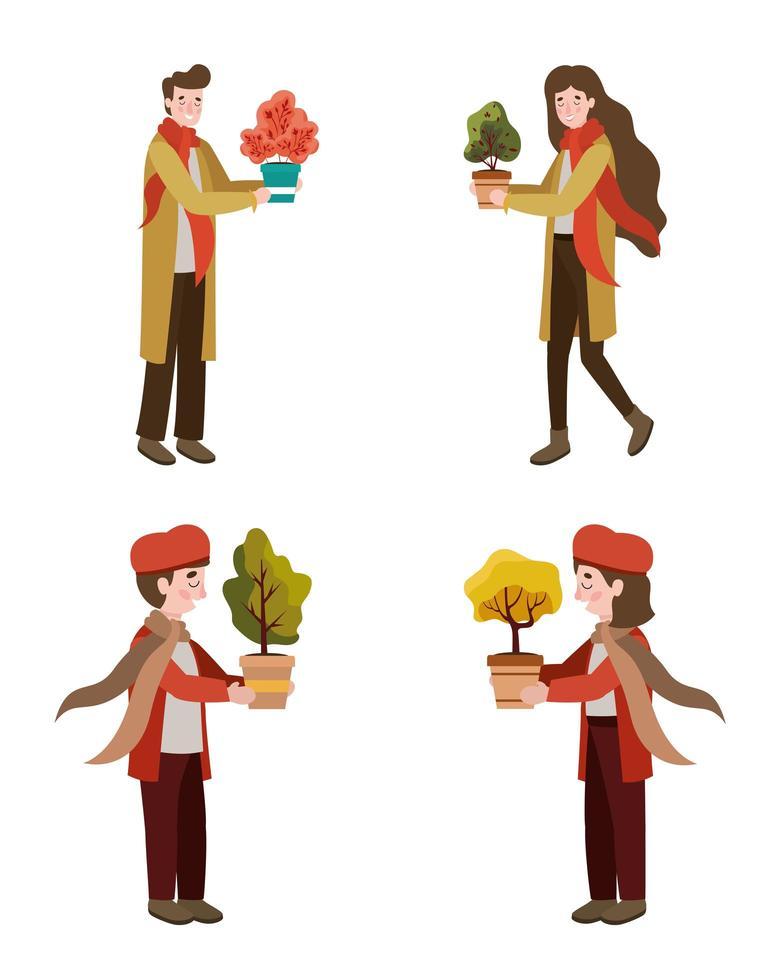 groep jongeren met herfstplanten vector